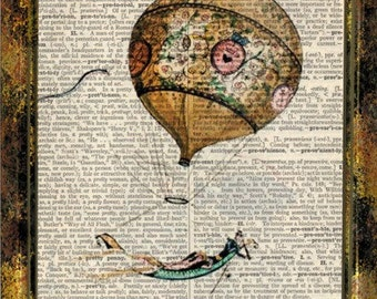 Vintage steampunk inspired style hot air balloon print on 8x10 upcycled dictionary page