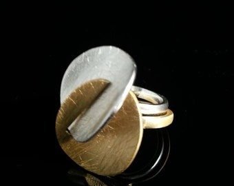 Sand-Brushed Delicate 2 rings in 1 Gold-Plated Ring