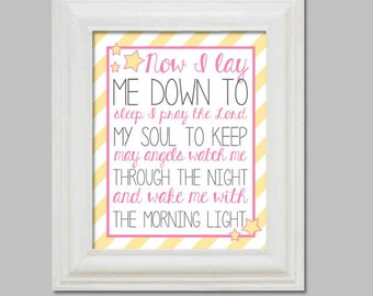 Now I Lay Me Down To Sleep Christening Baptism Gift for Child Baby Room Decor  Wall Art Nursery Child Prayer Print