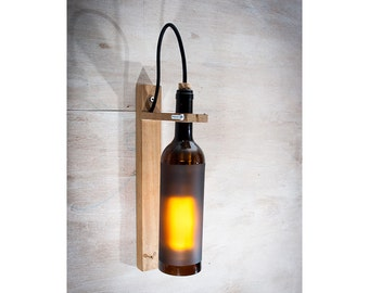 Recycled wine Bottle wall sconce, Wine Gift, Wood lamp, Bar light, wall mount light, wall light, wine bottle light rustic lamp, rustic light