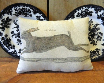 Bunny Rabbit Pillow Handmade Tea Dyed Feed Sack Pillow - Cupboard Tuck