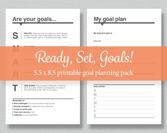"Printable Goal Planning Pack  - Set Goals, Track Goals Monthly and Yearly - Half-letter size (5.5""x8.5"")"