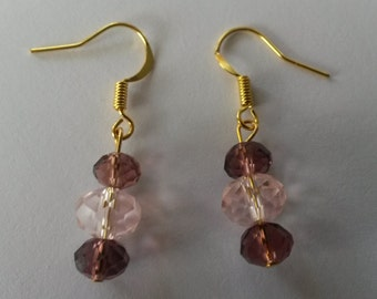 Beautiful Vibrant Gold Earrings With Blue And Green Swarovski Crystal Or Plum And Pink Crystal