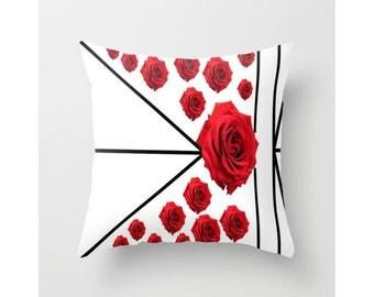 Geo Rosita Throw Pillow Roses Indoor Pillow Cover Roses Outdoor Pillow Cover Shabby Chic Pillow Cover Floral Pillow Cover Red Roses Pillow