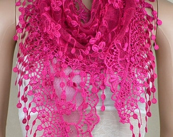 Mei red bud silk scarf triangle, stereoscopic embroidery lace fringe scarf, shawl