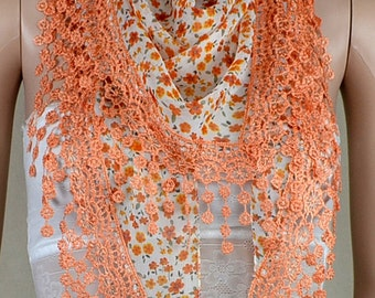 Orange chiffon scarf, pure and fresh and small broken flower scarf, lace tassels triangle scarf, shawl