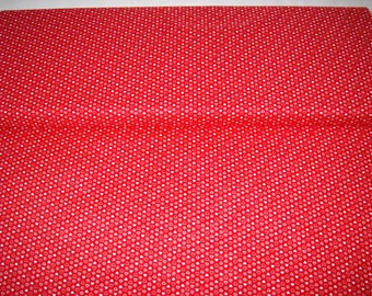 VIP vintage fabric, red w/ white hearts and dots, by yard