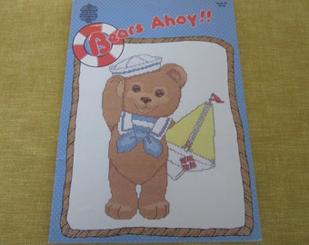 Bears Ahoy!! cross stitch book,patterns, girl,boy,boat,bear,,life preserver,skipping