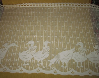 "25"" Lace Country, duck ,filet crochet look ,curtain fabric,cream color, Made in UK,sold by the yard"