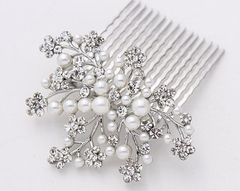 Crystal Pearl  Comb for BrideWedding Hairpiece Rhinestone Silver Pearl Hair Combs Gatsby Old Hollywood Prom Wedding Headpiece Jewelry