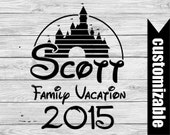 Disney Family Castle Vacation Iron On Transfer Printable  Personalized t-shirt Last Name shirt couple matching shirts Disneyland Disneyworld