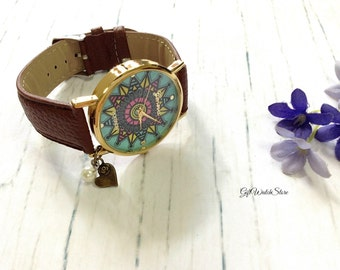 "Retro Leather Watch, Leather Wrap Watch, Leather Bracelet Watch, Wrist Watch, Brown Compass Leather Watch ""heart"" charm"