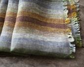 Linen Scarf / Purple Yellow Green Mustard Brown Colour/ / Unisex Scarf