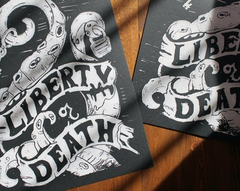 Liberty or Death -- Block Print