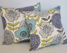 2 Floral Shop Natural White, Green, Purple, Blue, Gray, Throw Pillow, Decorative Pillow, Pillow Cover, Accent Pillow