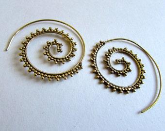 Spiral Brass Dotted Earrings handmade, Tribal Earrings, Nickel Free, Indian Jewellery, Gift boxed,Free UK postage BG8