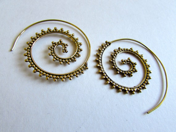 Spiral Brass Dotted Earrings handmade, Tribal Earrings, Nickel Free, Indian Jewellery, Gift boxed,Free UK postage BG8