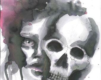 Watercolor portrait, art print,