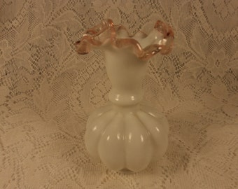 Fenton Pink Rose Crest Ruffled Edge Melon Vase
