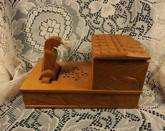 Wooden Mechanical Bird Cigarette Dispenser Box