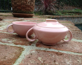 Vernon Kilns Ultra California Sugar Bowl and Teacup in Carnation Pink