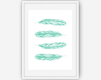 Teal Feather Print, Teal Wall Art, Feather Wall Art, Feather Wall Print, Wall Art, Printable, Instant Download