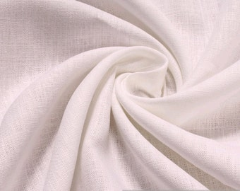 Fabric pure linen white