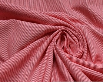 fabric pure cotton hairline stripe red white 1 mm pinstripe