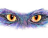 Orange Cat Eyes, Purple Cat, Original Marker Drawing, Unique Art, Whimsical Art, Custom Portraits Available