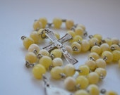 Authentic Baltic Amber Catholic Rosary, Hand made baltic amber round beads, honey yellow color knotted Rosary