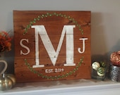 Personalized, Made to Order, Hand Painted Monogram Wood Sign