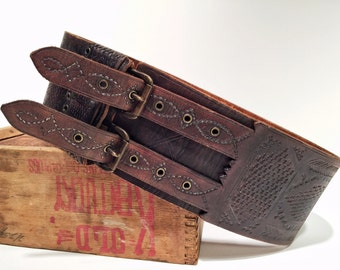 Moroccan Style Wide Belt Hand Stamped w Double Buckle