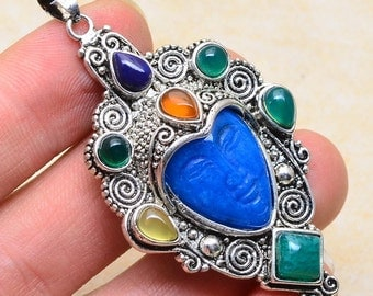 Blue Jade and Agate silver plated  pendant ( #J1218)