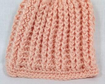 Handmade Peach Crochet Baby Hat