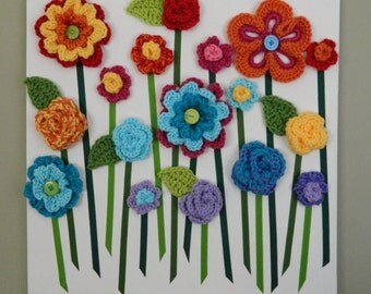 Flower Wall Hanging, 3D Flower Wall Art, Baby Girl Nursery, Homemade Girls Room Decor - Available in Rainbow or Custom Colors
