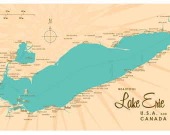 Lake Erie Map Print