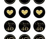 40th Birthday Cupcake Topper, Cupcake Topper, 40th Birthday, 40th Anniversary, 40th Anniversary Cupcake Topper, 40th Anniversary Decor, BG40