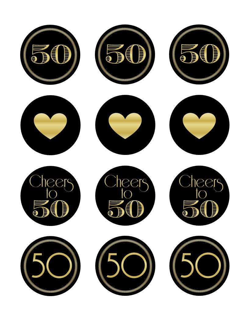 50th Anniversary Cupcake Decorations 50th Birthday Cupcake Topper 50th Birthday Cupcake Topper
