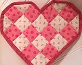 Quilted heart-shaped candle mat, mug rug, Valentines Day gift