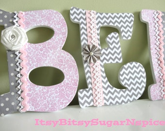 Custom Pink Nursery Letters, Hanging letters, Wall letters, Personalized name, Elegant Baby Girl Letters, Kids Room Decor, Unique Gift, ,