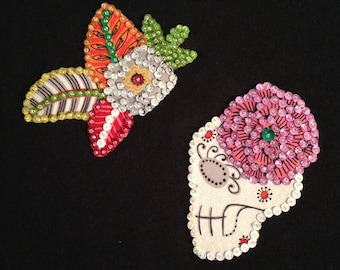 Hand Sewn Day of the Dead Skeleton Sequin T-Shirt Black Size Large