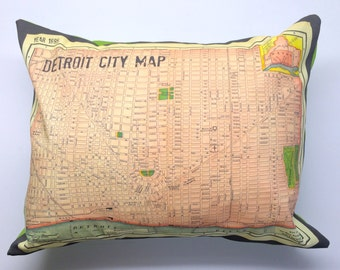 Streets of Detroit 1895 Map Pillow