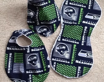 Seattle Seahawks bib and burp cloth set