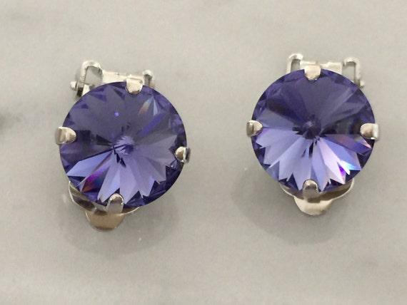 Tanzanite Crystal Clip On Earrings,  Crystal Clip-On Earrings, Crystal Clip Earrings,  Tanzanite Earrings, Tanzanite Crystal Earrings