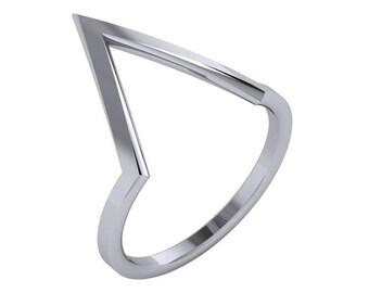 V Shaped Ring 14K Gold | 14K Gold V Ring | Chevron Ring