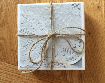 Set of 4 Lace Doily Coasters