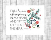 honor christmas - a christmas carol 8x10 DIGITAL print file - INSTANT DOWNLOAD printable - christmas quote