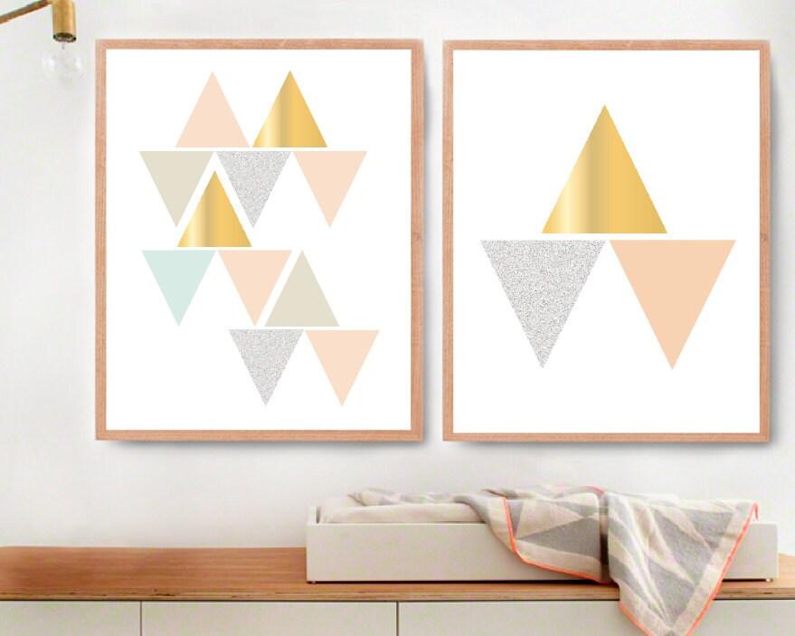 geometric wall art printable gold room decor modern nursery