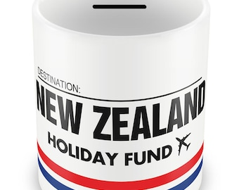 NEW ZEALAND Holiday Fund Money Box - Piggy Bank Savings Travelling Gift Idea