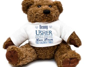 Personalized Usher Wedding Teddy Bear - Gift Thank You Present Keepsake Blue Celebration Special Day
